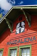 The Santa Fe train depot in Magdalena, New Mexico USA