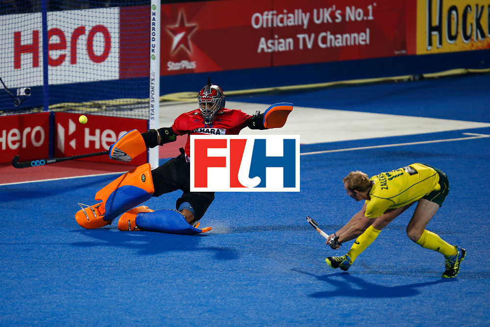 LONDON, ENGLAND - JUNE 17:  Aran Zalewski of Australia takes a penalty against goalkeeper Harmanpreet Singh of India during a shootout of the FIH Men's Hero Hockey Champions Trophy 2016 final between Australia and India at Queen Elizabeth Olympic Park on June 17, 2016 in London, England.  (Photo by Joel Ford/Getty Images)