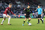 Forest Green Rovers forward (on loan from Celtic) Jack Aitchison (29)  looks to release the ball during the EFL Sky Bet League 2 match between Northampton Town and Forest Green Rovers at the PTS Academy Stadium, Northampton, England on 14 December 2019.