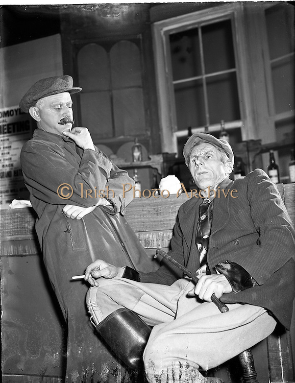 """25/03/195<br /> 03/25/1955<br /> 25 March 1955<br /> Scenes from the play """"The Glorious Uncertainty"""" at Queens theatre, Dublin for the Abbey Theatre."""