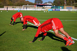 BANGOR, WALES - Monday, October 15, 2018: Wales' Brennan Johnson during the pre-match warm-up before the UEFA Under-19 International Friendly match between Wales and Poland at the VSM Bangor Stadium. (Pic by Paul Greenwood/Propaganda)