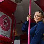 Amy Christophers is a sports presenter attend Brigits Bakery host their Pink Ribbon Afternoon Tea in aid of the Pink Ribbon Foundation, London, UK. 16 October 2018.