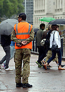 © Licensed to London News Pictures. 18/07/2012. Westminster, UK A soldier stands guard on Birdcage Walk. Soldiers, police and security contractors perform security checks around Olympic sites in Westminster today, 18th July 2012. Photo credit : Stephen Simpson/LNP