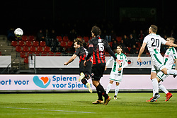 (L-R) Milan Massop of Excelsior scores 1-0, Jurgen Mattheij of Excelsior during the Dutch Eredivisie match between sbv Excelsior Rotterdam and FC Groningen at Van Donge & De Roo stadium on December 17, 2017 in Rotterdam, The Netherlands