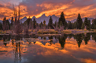 North America; American; USA; Rocky Mountains; West; Grand Teton, National Park, sunset and Snake river