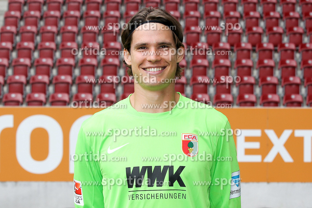 08.07.2015, WWK Arena, Augsburg, GER, 1. FBL, FC Augsburg, Fototermin, im Bild Marwin Hitz #35 (FC Augsburg) // during the official Team and Portrait Photoshoot of German Bundesliga Club FC Augsburg at the WWK Arena in Augsburg, Germany on 2015/07/08. EXPA Pictures &copy; 2015, PhotoCredit: EXPA/ Eibner-Pressefoto/ Kolbert<br /> <br /> *****ATTENTION - OUT of GER*****