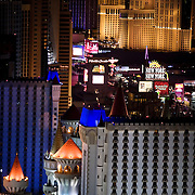 A view of The Strip in Las Vegas, famous for it's mega hotels and casinos.