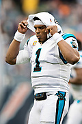 CHICAGO, IL - OCTOBER 22:  Cam Newton #1 of the Carolina Panthers gets ready for the start of a game against the Chicago Bears at Soldier Field on October 22, 2017 in Chicago, Illinois.  The Bears defeated the Panthers 17-3.  (Photo by Wesley Hitt/Getty Images) *** Local Caption *** Cam Newton