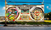 Street artists Trek6 and Chor Boogie transformed a two-story building into a gigantic boom-box on NW Sixth Avenue in Miami's Wynwood arts district.