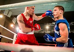 Brajan Jovanovic of Serbia (BLUE) fights against Luka Mejac of Slovenia (RED) in Elite 81 kg Category during Dejan Zavec Boxing Gala event in Laško, on April 21, 2017 in Thermana Lasko, Slovenia. Photo by Vid Ponikvar / Sportida