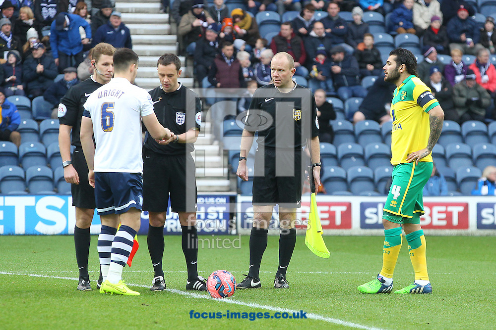 Bradley Johnson of Norwich performs his duty as Captain for the day before the FA Cup match at Deepdale, Preston<br /> Picture by Paul Chesterton/Focus Images Ltd +44 7904 640267<br /> 03/01/2015
