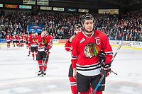 KELOWNA, CANADA - APRIL 14: Keegan Iverson #13 of the Portland Winterhawks leads the team in the series ending hand shake against the Kelowna Rockets on April 14, 2017 at Prospera Place in Kelowna, British Columbia, Canada.  (Photo by Marissa Baecker/Shoot the Breeze)  *** Local Caption ***