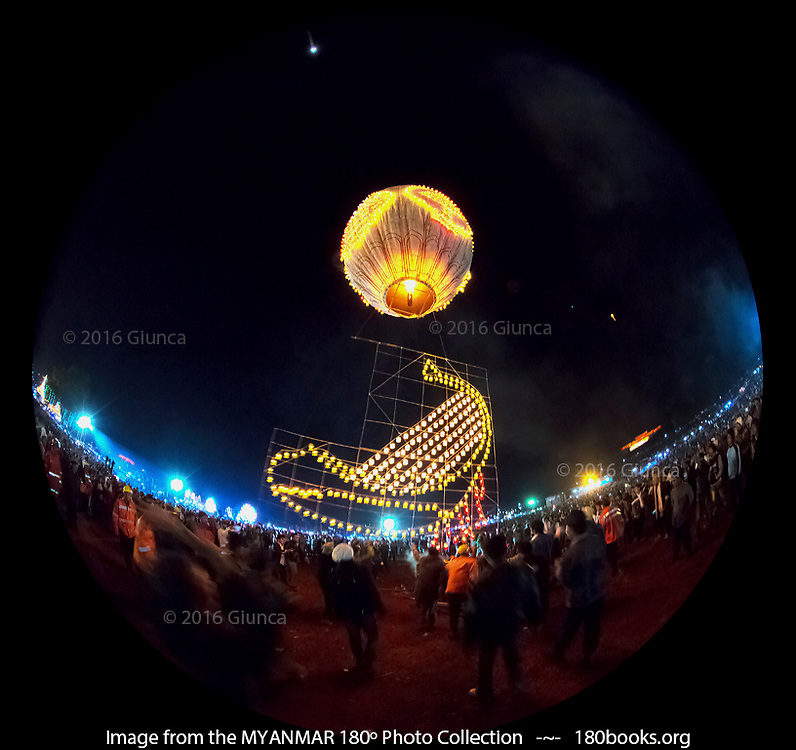 A Sein Nar Pan fire balloon with candles depicting a Burmese harp