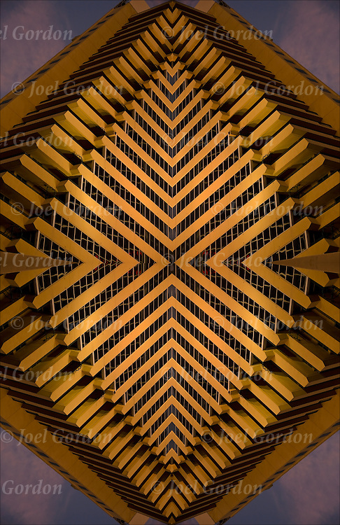 Optical illusion of close up details of geometrical architecture design, patterns, colors, right angles,textures and  shapes.