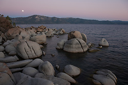 """Full Moon Over Lake Tahoe 13"" -These boulders, full moon, and alpenglow sunset were photographed at Crystal Point in Crystal Bay, Lake Tahoe."