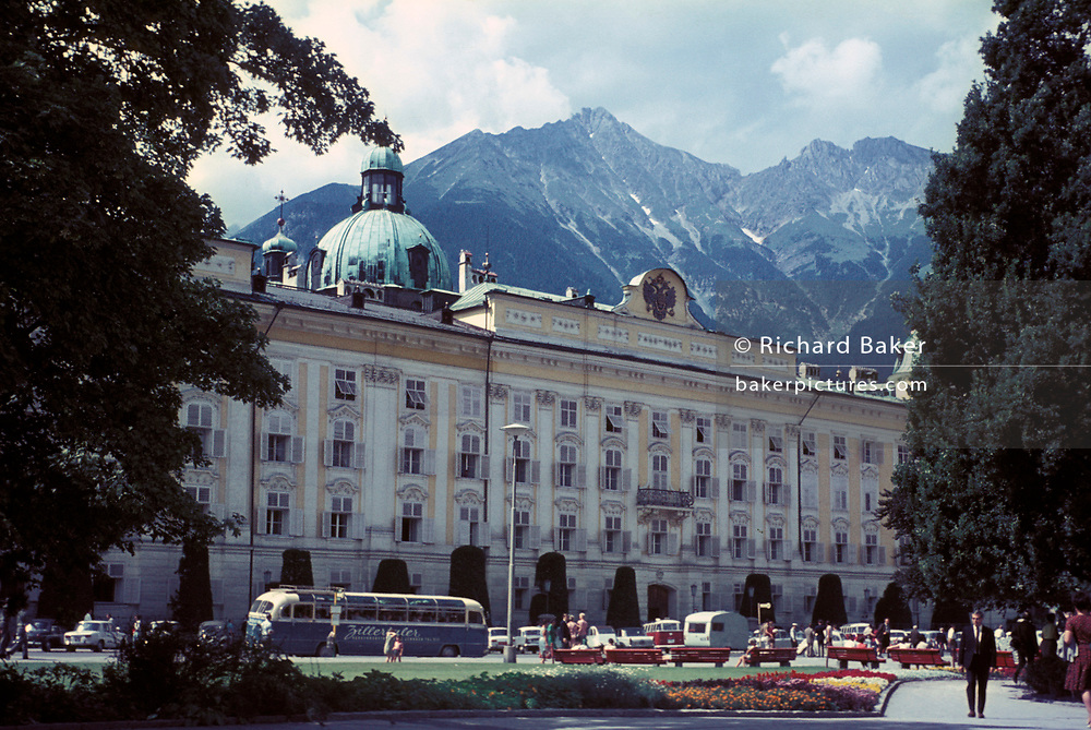 A 1970 exterior view of the Hofburg, Austria's former Hapsburg Imperial Palace, on 13th July 1970, in Innsbruck, Austria. The Kaiserliche Hofburg is considered one of the three most significant cultural buildings in the country, along with the Schonbrunn Palace in Vienna