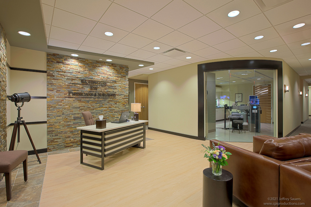 Washington DC Interior Photographers image of reception area at Offices of Washington Eye after construction and remodeling by contractor Coakley Williams Construction of Gaithersburg