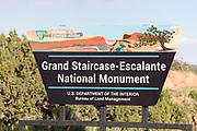 Grand Staircase - Escalante National Monument sign near Escalante, Utah.