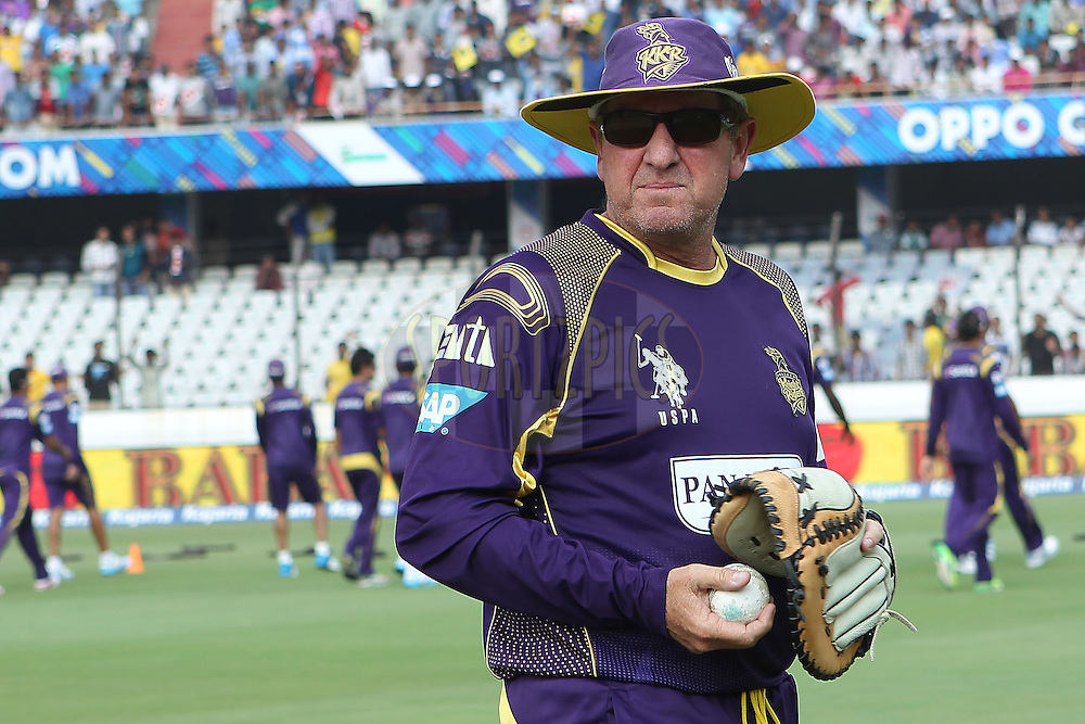 KKR's Trevor Bayliss during the first semi final match of the Oppo Champions League Twenty20 between the Kolkata Knight Riders and the Hobart Hurricanes held at the Rajiv Gandhi Cricket Stadium, Hyderabad, India on the 2nd October 2014<br /> <br /> Photo by:  Ron Gaunt / Sportzpics/ CLT20<br /> <br /> <br /> Image use is subject to the terms and conditions as laid out by the BCCI/ CLT20.  The terms and conditions can be downloaded here:<br /> <br /> http://sportzpics.photoshelter.com/gallery/CLT20-Image-Terms-and-Conditions-2014/G0000IfNJn535VPU/C0000QhhKadWcjYs