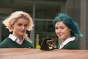 01/05/2015 Niamh Moran, and Katie Jacques, St Leo's Carlow with  their robot at the Irish Robotics Championship where over 450 second level students competed for the coveted trophy supported by  EA Games. Photo:Andrew Downes: XPOSURE