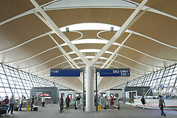 Interior of Terminal 2 at Pudong International Airport in Shanghai China