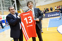 Roman Volcic and Gabrijel during Slovenian basketball All Stars Grosuplje 2013 event, on December 29, 2013 in Arena Brinje, Grosuplje, Slovenia. (Photo By Urban Urbanc / Sportida.com)