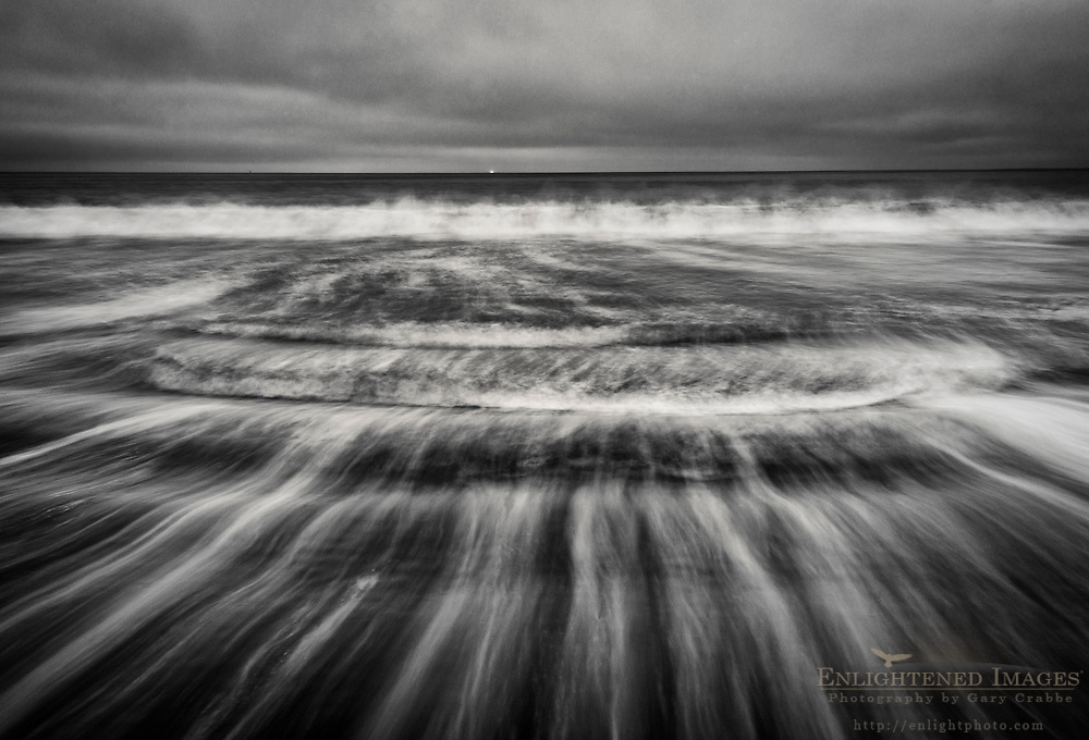 Waves breaking on Drakes Beach, Point Reyes National Seashore, Marin County, California