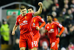 Liverpool's Steven Gerrard celebrates after scoring his penalty for 2-1 - Photo mandatory by-line: Matt McNulty/JMP - Mobile: 07966 386802 - 10/02/2015 - SPORT - Football - Liverpool - Anfield - Liverpool v Tottenham Hotspur - Barclays Premier League