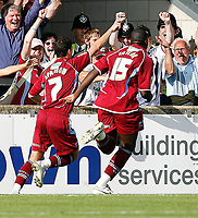 Photo: Steve Bond.<br />Scunthorpe United v Sheffield United. Coca Cola Championship. 01/09/2007. matt Sparrow (7) turns away after scoring the winner