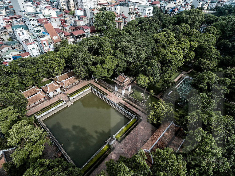Aerial view of Temple of Literature in Hanoi, Vietnam, Southeast Asia