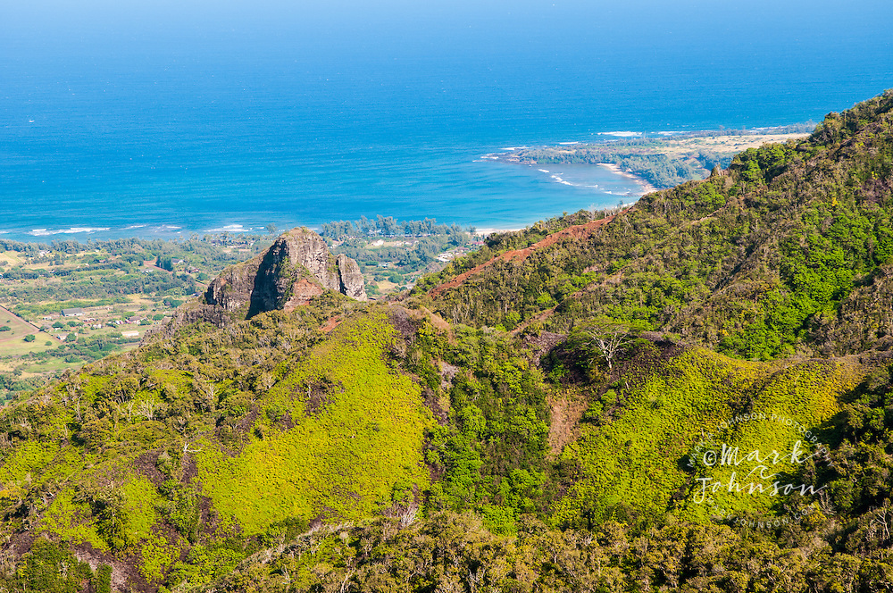 Anahola Bay seen from up in the Anahola Mountains, Kauai, Hawaii