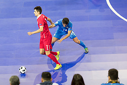 Andrija Stankovic of Serbia and Douglas Junior of Kazakhstan during futsal quarter-final match between National teams of Kazakhstan and Serbia at Day 7 of UEFA Futsal EURO 2018, on February 5, 2018 in Arena Stozice, Ljubljana, Slovenia. Photo by Urban Urbanc / Sportida