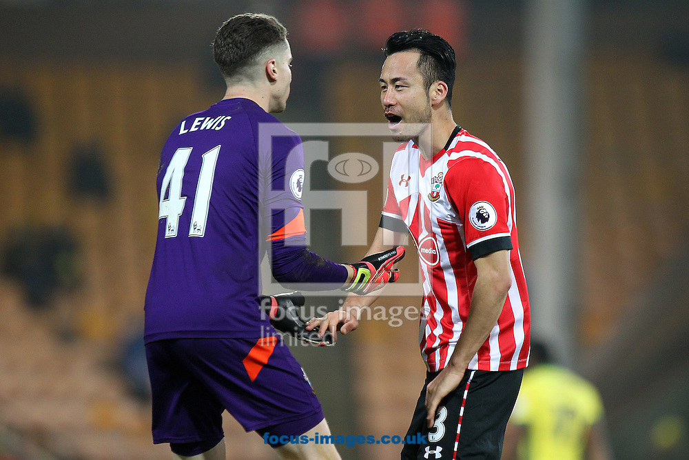 Maya Yoshida of Southampton celebrates scoring his sides 2nd goal with Harry Lewis of Southampton during the third round of the FA Cup at Carrow Road, Norwich<br /> Picture by Paul Chesterton/Focus Images Ltd +44 7904 640267<br /> 07/01/2017
