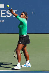July 28, 2011; Stanford, CA, USA;  Serena Williams (USA) serves the ball against Maria Kirilenko (RUS), not pictured, during the second round of the Bank of the West Classic women's tennis tournament at the Taube Family Tennis Stadium. Williams defeated Kirilenko 6-2, 3-6, 6-2.