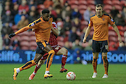 Nathan Byrne (Wolverhampton Wanderers) runs with the ball during the Sky Bet Championship match between Middlesbrough and Wolverhampton Wanderers at the Riverside Stadium, Middlesbrough, England on 4 March 2016. Photo by Mark P Doherty.