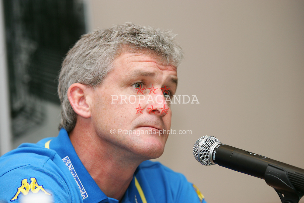 BAKU, AZERBAIJAN - FRIDAY SEPTEMBER 3rd 2004: Wales' manager Mark Hughes at a press conference at the Hyatt Park Hotel ahead of his side's opening World Cup Qualifyer against Azerbaijan in Baku. (Photo by David Rawcliffe/Propaganda)