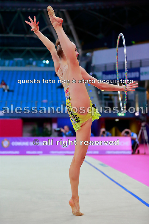 Tikkanen Jouki during qualifying at hoop in Pesaro World Cup 13 April 2018. Jouki was born 5 July, 1995. She is a Finnish individual rhythmic gymnast.