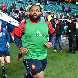 Mathieu Bastareaud of France joins the warm up despite not being in the squad for the RBS Six Nations match between England and France at Twickenham Stadium on February 4, 2017 in London, United Kingdom. (Photo by Dave Winter/Icon Sport)