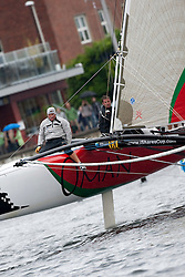 Kiel - Germany, 29th of August 2009. iShares cup. Second day of racing...David Carr is sitting on the windward hull of the extreme 40 Marisah...