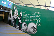 General view inside Home Park Stadium of Green Army artwork on the wall of a fan entrance to the stadium before the EFL Sky Bet League 1 match between Plymouth Argyle and Burton Albion at Home Park, Plymouth, England on 20 October 2018.
