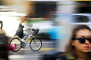 bicycle with motion blur the most efficient means of urban transport