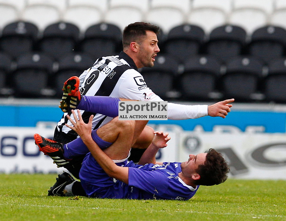 St.Mirren v Dunfermline Athletic, PETROFAC TRAINING CUP 1/4 Final 10th October 2015..Steven Thomson receives a yellow card from referee George Salmond for this tackle on Shaun Byrne....(c) STEPHEN LAWSON | SportPix.org.uk