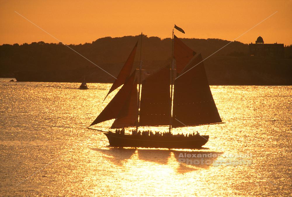 Usa, Newport RI - Aurora, A classic wooden sailboat sails at sunset in Narragansett Bay with a beautiful sunset following..