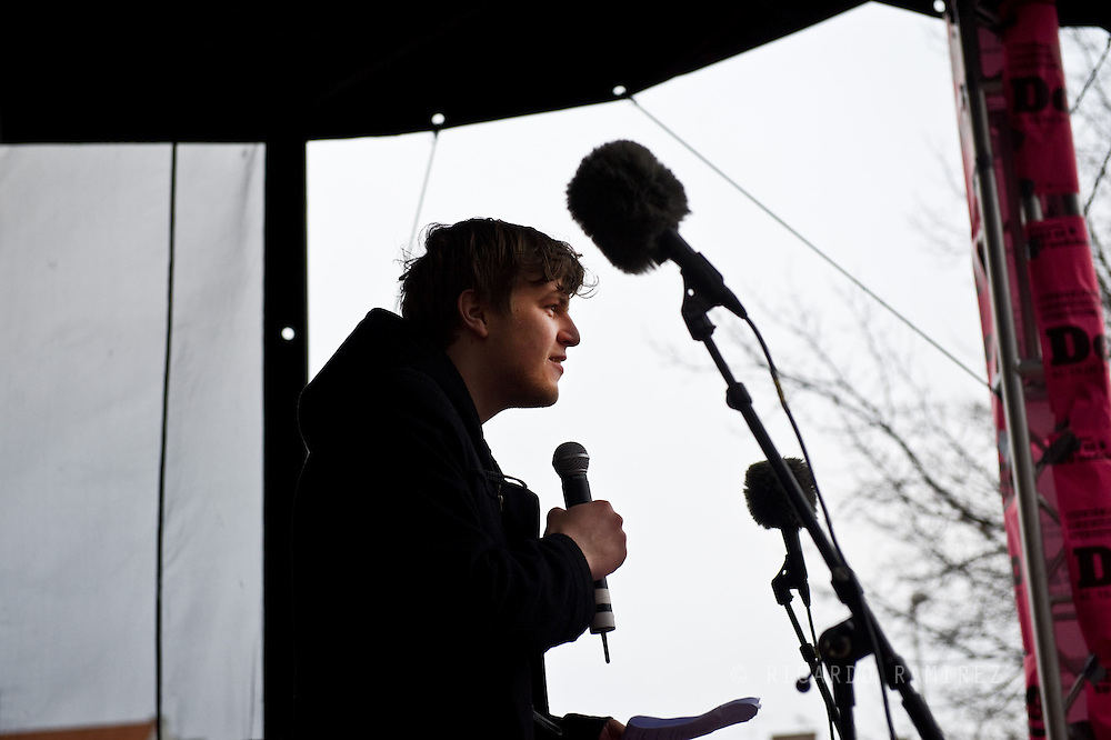 28.02.13. Copenhagen, Denmark..Jakob L. Ruggaard, President of the National Union of Students in Denmark speaks to 25,000 students who marched against government's SU-reform from the Town Square to Christiansborg Slotsplads in Copenhagen..Photo:© Ricardo Ramirez.