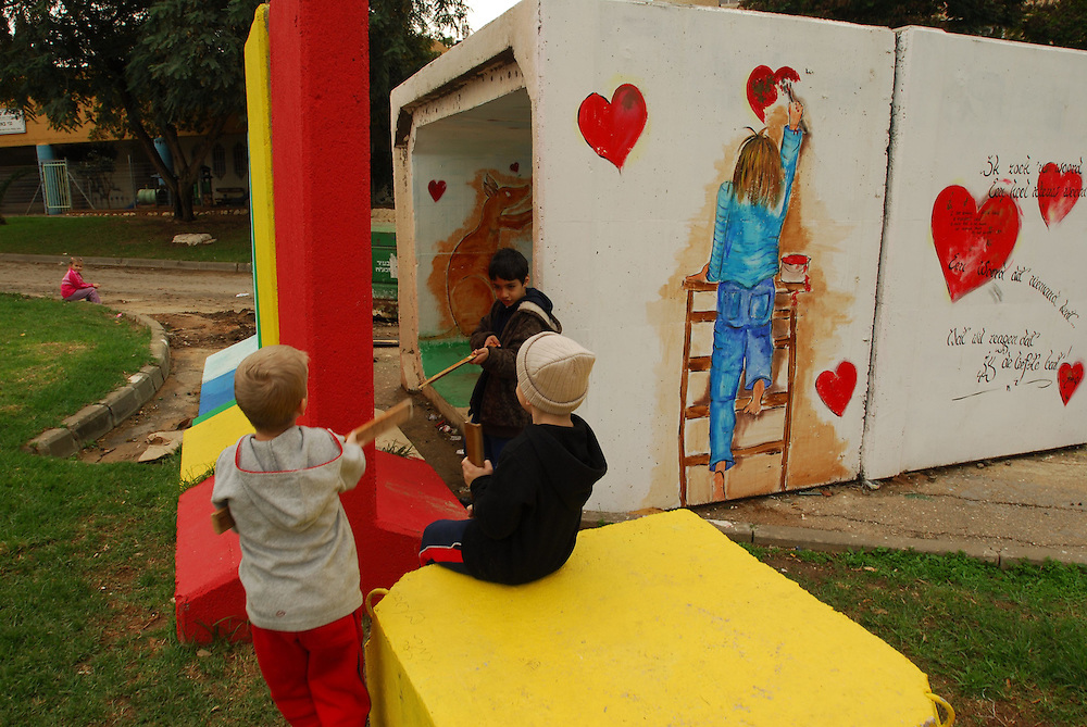 SDEROT, ISRAEL - DEC 26 2008:  Children are playing in a bomb shelter, located in a playground, in the Southern city Sderot.
