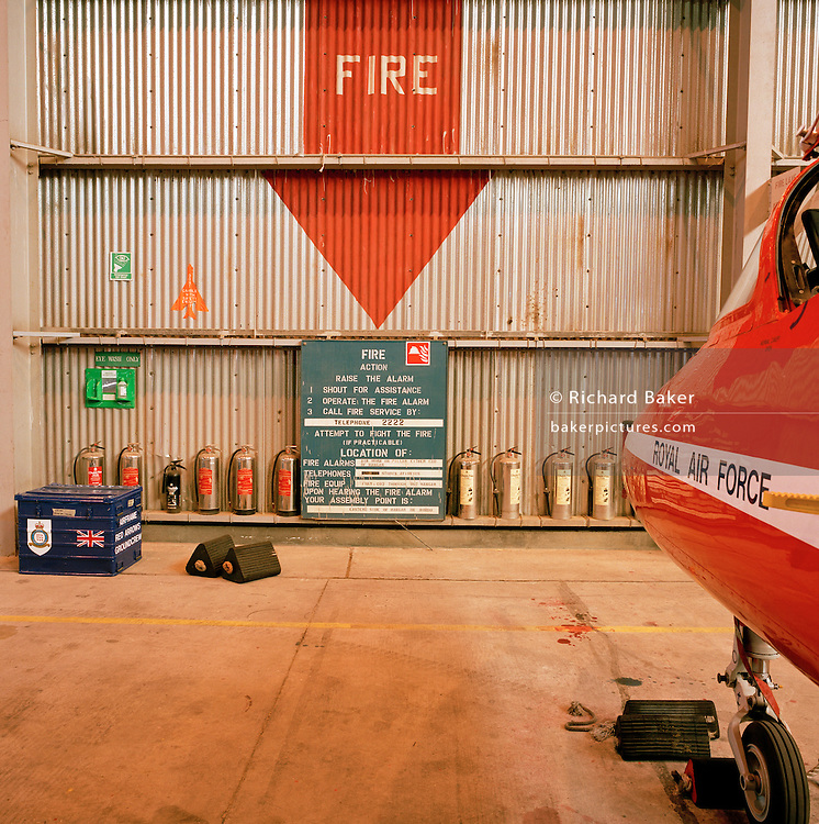 Landscape of hangar used by the 'Red Arrows', Britain's Royal Air Force aerobatic team during Spring exercise in Cyprus.