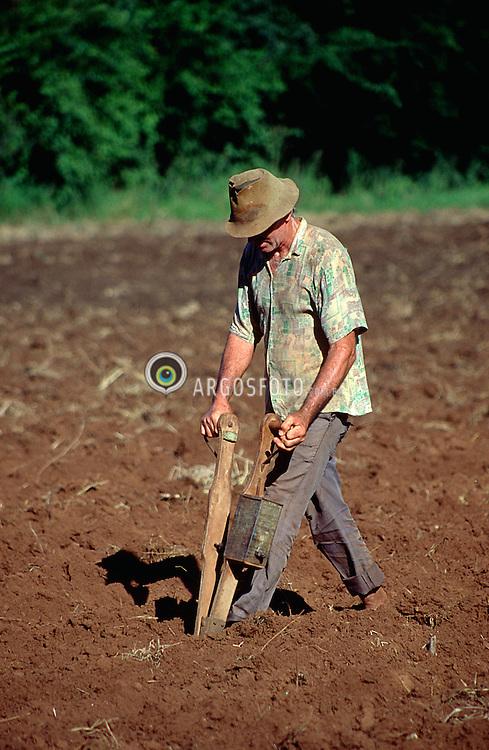 Crissiumal, RS, Brasil. Jan/1997.Plantio de milho com semeadeira manual./ Planting corn with seed drill..Foto Adri Felden/Argosfoto
