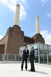 Prime Ministers of UK and Malaysia break ground at Battersea Power Station redevelopment.<br /> (L-R) Prime Minister David Cameron and and Prime Minister Najib Razak  during a visit to the Battersea Power Station to celebrate ground breaking at London's most visionary and eagerly anticipated new development – eighty years after it first generated electricity and thirty years since it was decommissioned. <br /> They were also joined by were joined by Boris Johnson, Mayor of London; Tan Sri Liew Kee Sin, President of S P Setia and Chairman of the shareholders' consortium; Tan Sri Dato' Mohd Bakke Salleh, President of Sime Darby; Datuk Shahril Ridza Ridzuan, Chief Executive Officer of Employees' Provident Fund (EPF) and Rob Tincknell CEO of Battersea Power Station Development Company.<br /> London, United Kingdom<br /> Thursday, 4th July 2013<br /> Picture by Andrew Parsons / i-Images