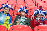 AFC Wimbledon fans prior to the Sky Bet League 2 Play-off Final at Wembley Stadium, London<br /> Picture by Matt Wilkinson/Focus Images Ltd 07814 960751<br /> 30/05/2016