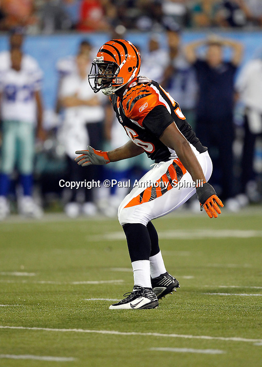 Cincinnati Bengals rookie linebacker Roddrick Muckelroy (56) makes a move during the NFL Pro Football Hall of Fame preseason football game between the Dallas Cowboys and the Cincinnati Bengals on Sunday, August 8, 2010 in Canton, Ohio. The Cowboys won the game 16-7. (©Paul Anthony Spinelli)